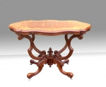 Magnificent Antique Marquetry Inlaid Burr Walnut Window Table  - Click to Enlarge