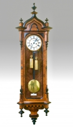 Fabulous and Very Fine Quality Burr Walnut and Black Double Weighted Antique Vienna Wall Clock. - Click to Enlarge