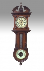 Unusual 19th Century Wall Clock with Therometer and Aneroid Barometer Incorporated. - Click to Enlarge