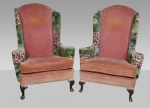 PAIR OF ANTIQUE HIGH WING BACK ARMCHAIRS  - Click to Enlarge