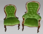 PAIR OF ANTIQUE VICTORIAN MAHOGANY LADIES AND GENTS CHAIRS  - Click to Enlarge