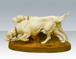 Superb pair of antique  Royal Dux hunting dogs - Click to Enlarge