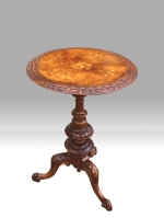 Wonderful quality antique burr walnut  occasional wine  table - Click to Enlarge