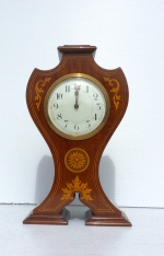 Lovely Inlaid Mahogany Antique Art Nouveau Mantle Clock.  - Click to Enlarge