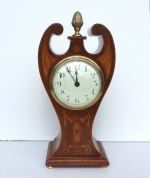 Lovely Inlaid Mahogany Antique Art Nouveau Angel Mantle Clock. - Click to Enlarge