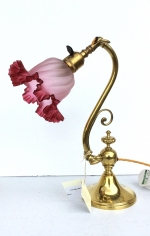 Quality Antique Adjustable Brass Desk Lamp With Original Cranberry Shade. - Click to Enlarge