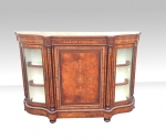 A Magnificent Victorian Burr Walnut Antique Serpentine Shaped Credenza  - Click to Enlarge