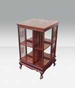 Fabulous quality inlaid Mahogany  antique revolving bookcase. - Click to Enlarge