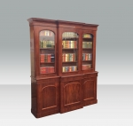 Fabulous Antique Mahogany Three Door Breakfront Bookcase Of Great Proportions. - Click to Enlarge