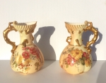 Lovely Pair Of Large Antique Blush Ivory Hand Painted Royal Worcester Coral Handled Vases. - Click to Enlarge
