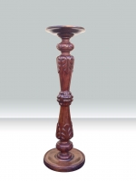 Quality Antique Carved Mahogany Pedestal Torchere - Click to Enlarge