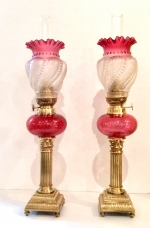 Fabulous Matching  Pair Of Original Antique Ruby Glass Oil Peg Lamps. - Click to Enlarge