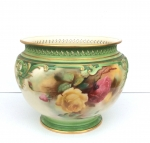 Large Antique Royal Worcester Hand Painted Jardiniere. - Click to Enlarge