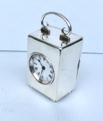 Beautiful small antique sterling silver English timepiece boudoir carriage clock  - Click to Enlarge