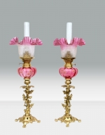Beautiful Matching Pair Of Original Antique Ruby Glass Oil Peg Lamps - Click to Enlarge