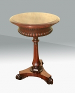 Fabulous Antique Regency Rosewood Circular Lamp Table,Teapoy With Rare Large Rising Telescopic Lid.  - Click to Enlarge