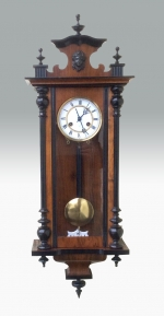 Lovely quality black and walnut antique 8 day spring Vienna Wall Clock - Click to Enlarge