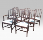 Set Of Eight Mahogany Period Hepplewhite Georgian Irish Antique Dining Chairs. - Click to Enlarge