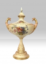 Stunning Hand Painted Antique Blush Ivory Royal Worcester Urn. - Click to Enlarge