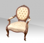 Superb Antique Victorian Walnut Cabriole Leg Open Arm  Spoon Back Chair - Click to Enlarge