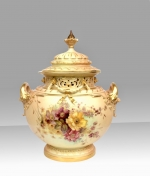 Magnificent Large Antique Royal Worcester Bow Urn,Hand Painted Flowers  On Blush Ivory Ground complete with Cover . - Click to Enlarge