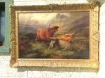 Lovely Antique Oil Painting Scottish Scene Highland Cattle John W Morris - Click to Enlarge
