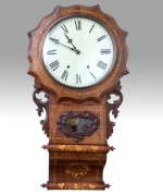 Fine Antique Inlaid Walnut Drop Dial Wall Clock - Click to Enlarge