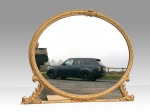 Fabulous Large Gilt Oval Overmantel Mirror - Click to Enlarge