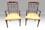 Elegant Pair Of Antique Inlaid Mahogany Drawing Room Armchairs - Click to Enlarge
