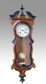 Beautiful  Antique Black & Walnut  Spring Vienna Clock By Gustof Becker - Click to Enlarge