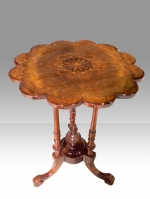 Stunning Victorian Inlaid Burr Walnut Antique Wine Occasional Lamp Table - Click to Enlarge
