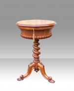 Magnificant Antique Burr Walnut Tea Poy Lamp Table  - Click to Enlarge