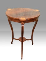 Stunning Fine Inlaid Rosewood Occasional Table With  Beautiful Shaped Top.  - Click to Enlarge