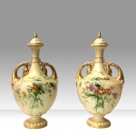 Super Pair Of Royal Worcester Blush Ivory Hand Painted  Lidded Vases . - Click to Enlarge