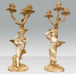 Stunning Pair Of Antique Royal Worcester Candelabra - Click to Enlarge
