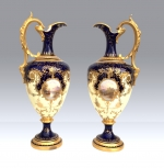 Stunning Large Pair Of Antique Coalport Ewers. - Click to Enlarge