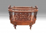 Antique Burr Walnut Canterbury Magazine Rack - Click to Enlarge