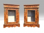 Pair Of Antique Figured Walnut Marquetry Pier Side Display Cabinets - Click to Enlarge