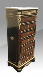 An outstanding Napoleon 111 French boulle Louis XV style ebonised wellington secretaire chest - Click to Enlarge