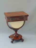 Superb William IV Rosewood Antique Sewing Table With Games ,Lamp Table  - Click to Enlarge