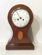 Antique Inlaid mahogany balloon shaped Sheridan design  mantel clock  - Click to Enlarge