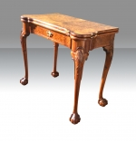Fabulous Quality Burr Walnut Turn Over Leaf Antique Games Card Table - Click to Enlarge