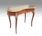 Magnificant Inlaid Burr Walnut Ormolu Mounted Kidney Shaped Antique Desk - Click to Enlarge