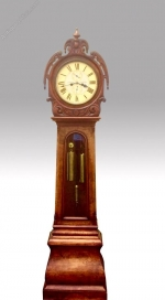 An antique Scottish Victorian burr walnut drumhead Grandfather Longcase Clock - Click to Enlarge