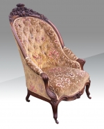 Fabulous Antique Carved Walnut Deep Buttoned Arm Chair. - Click to Enlarge