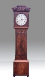Small Antique William IV Mahogany Irish Grandfather Clock . - Click to Enlarge