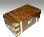 Fabulous burr walnut  antique writing box slope with secret drawers - Click to Enlarge
