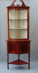 Quality Inlaid Mahogany Serpentine Shaped Antique Corner Cabinet, - Click to Enlarge