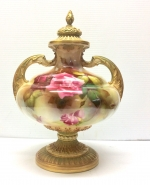 Antique Royal Worcester porcelain footed vase and cover. - Click to Enlarge