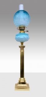 Very Rare Antique Blue Tall Oil Lamp  - Click to Enlarge